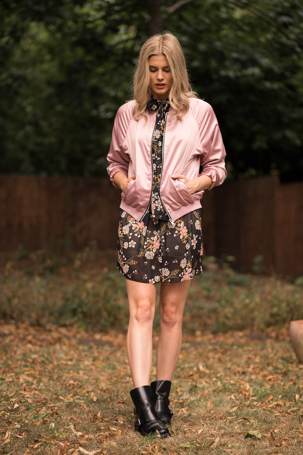 bomber satin outfit floral dress
