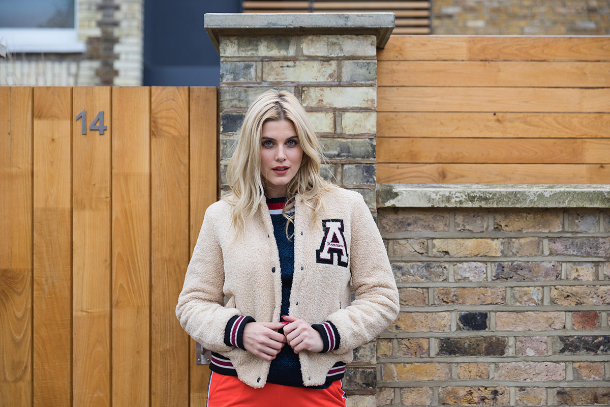 A sheep skin bomber jacket Ashley James