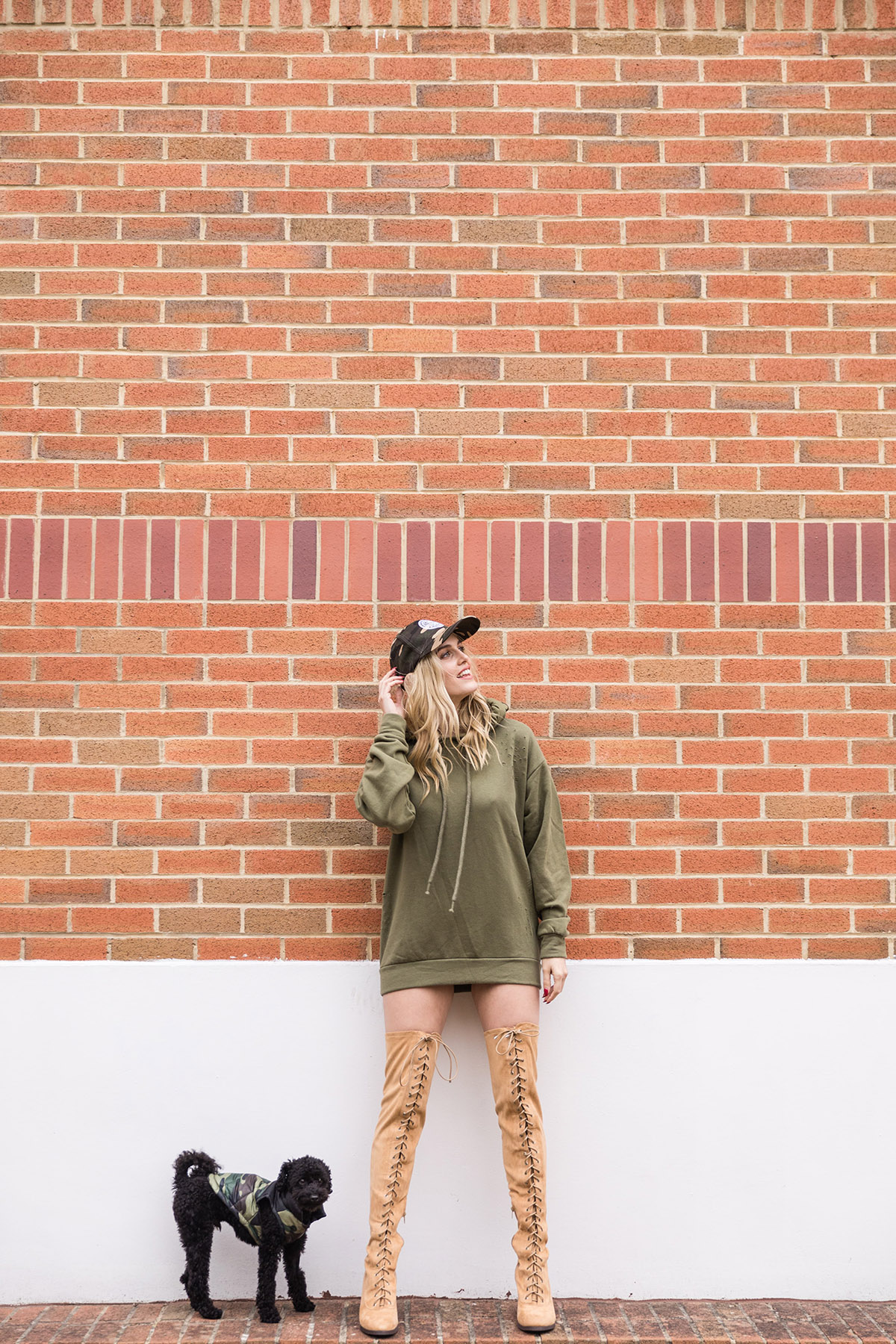 oversized hoody and over the knee boots