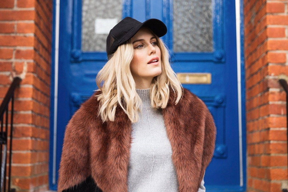 Ashley James how to wear Faux Fur scarf