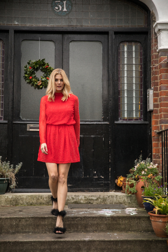 Red sequin Dress Ashley James New Years Eve Outfit Ideas