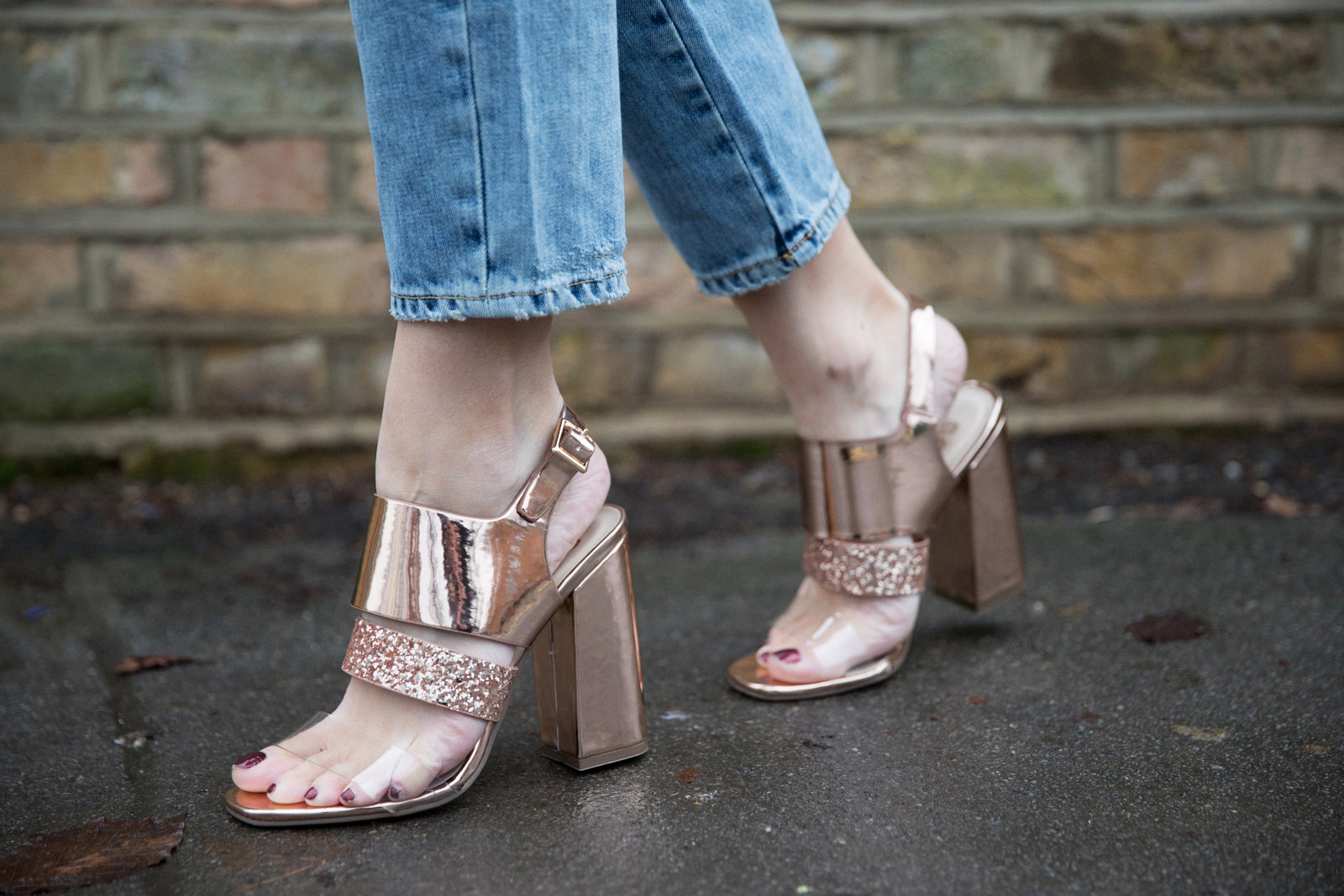 5 ways to wear Winter Dates Ashley James gold heels
