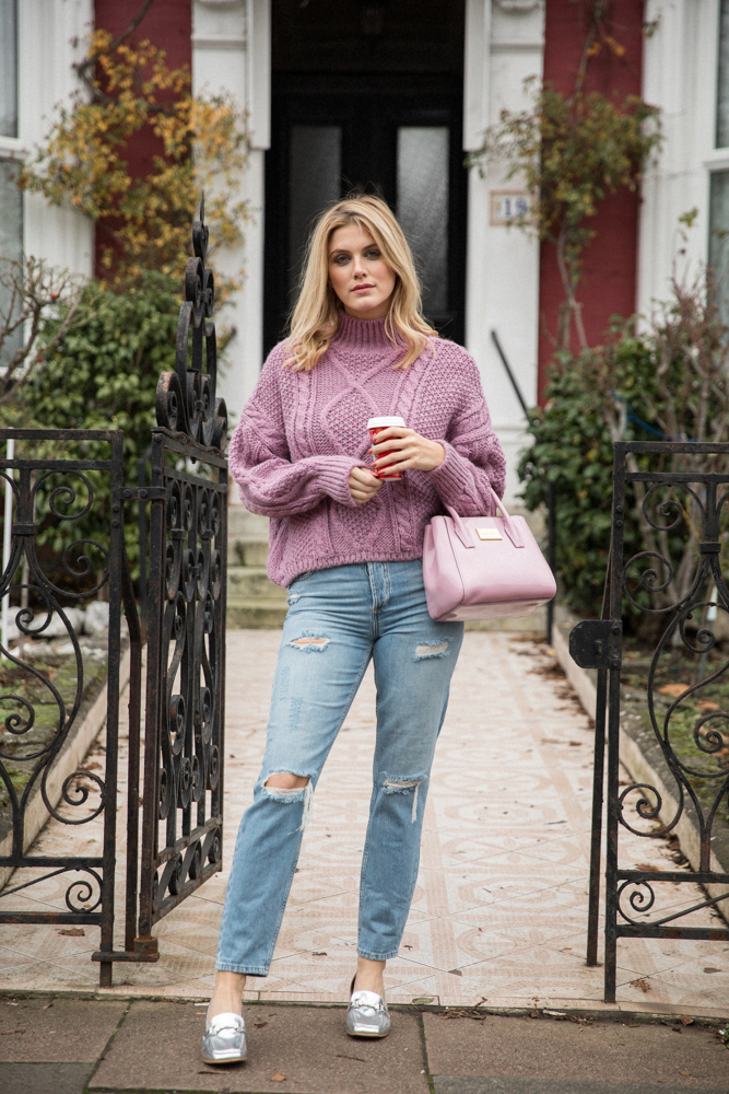 5 ways to wear Winter Dates Ashley James floral jeans pink jumper & jeans