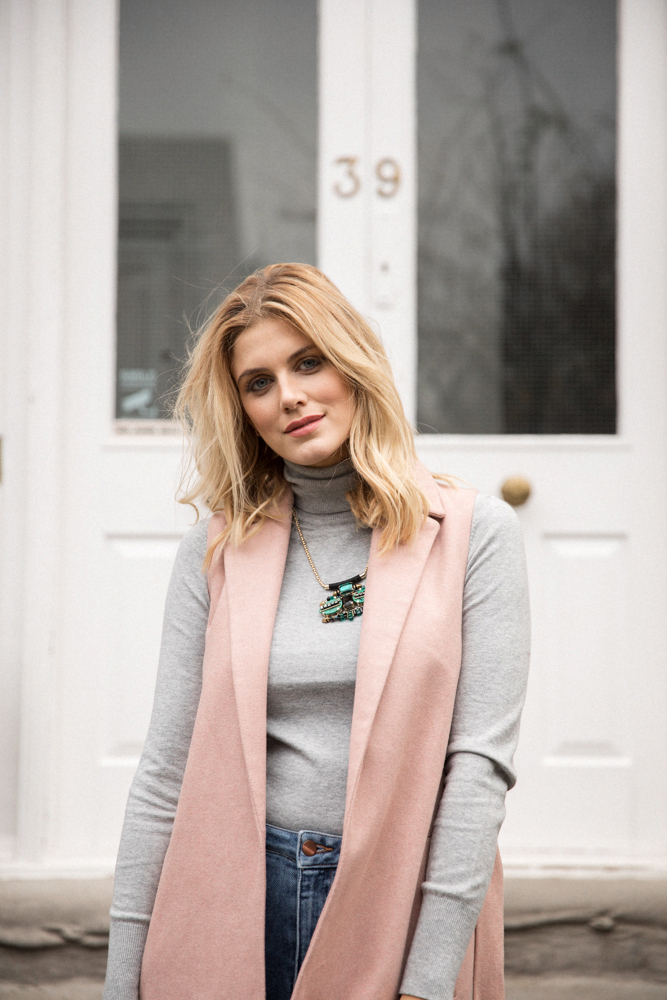 5 ways to wear Winter Dates Ashley James pink sleeveless coat