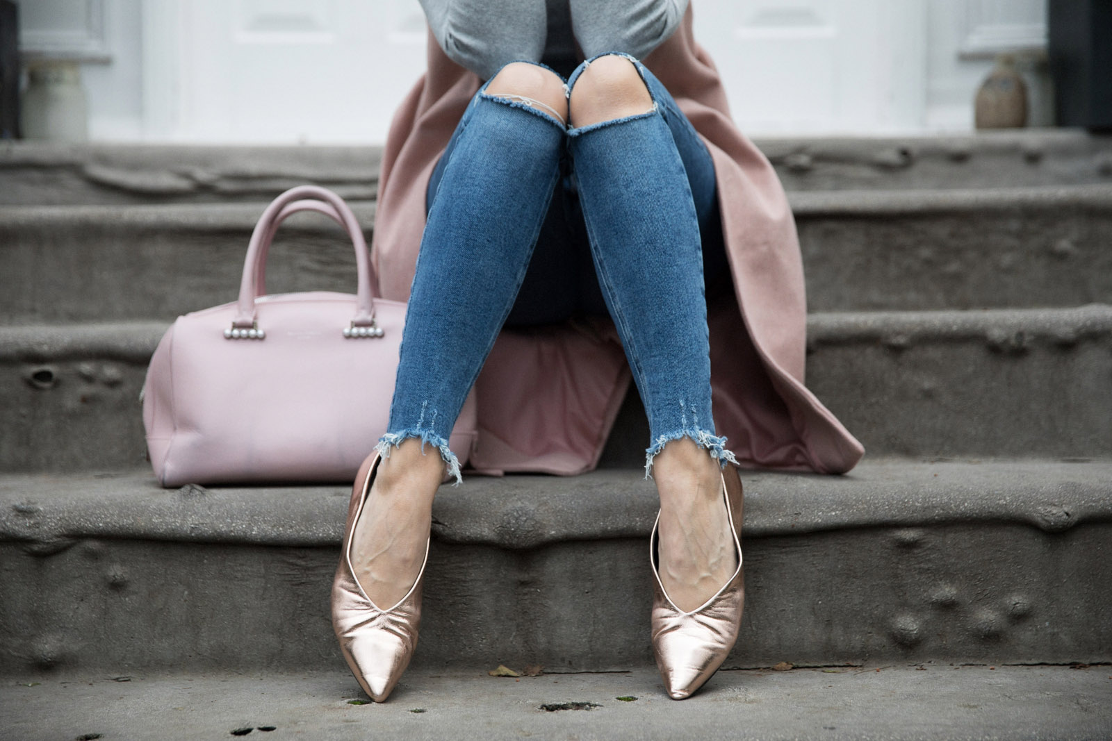 5 ways to wear Winter Dates Ashley James rose gold shoes