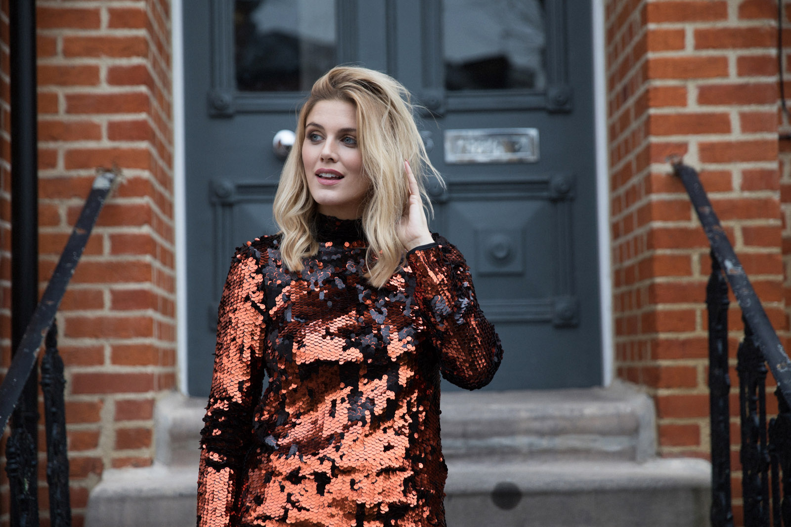 Copper Sequin Dress Ashley James New Years Eve Outfit Ideas
