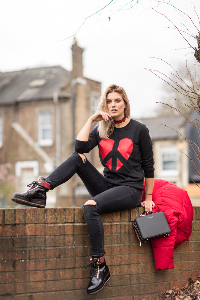 Ashley James casual Valentine's Day outfit